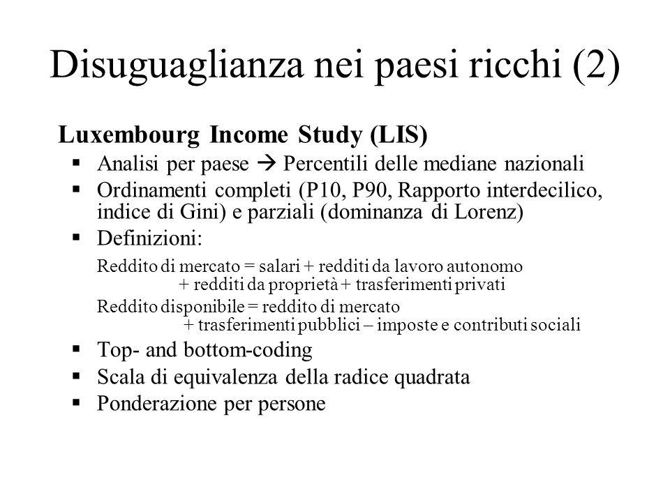 Luxembourg Income Study (LIS) Analisi per paese Percentili delle mediane nazionali Ordinamenti completi (P10, P90, Rapporto interdecilico, indice di G