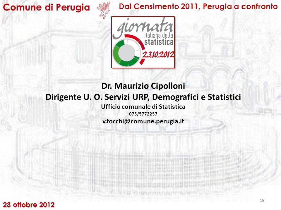 18 Comune di Perugia Dal Censimento 2011, Perugia a confronto 23 ottobre 2012 Dr.