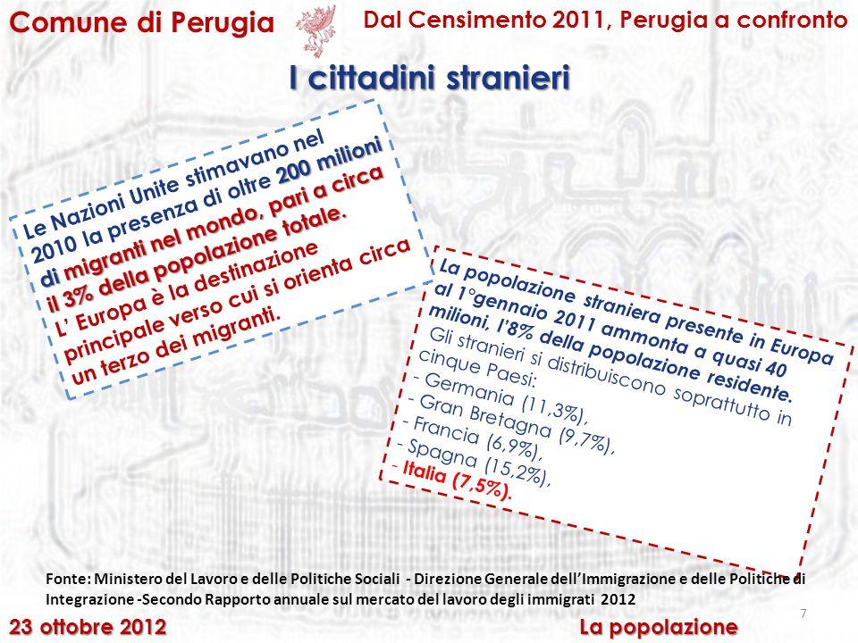 7 Comune di Perugia Dal Censimento 2011, Perugia a confronto I cittadini stranieri 23 ottobre 2012 La popolazione La popolazione straniera presente in Europa al 1°gennaio 2011 ammonta a quasi 40 milioni, l8% della popolazione residente.
