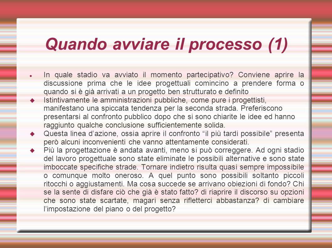 Quando avviare il processo (1) In quale stadio va avviato il momento partecipativo.