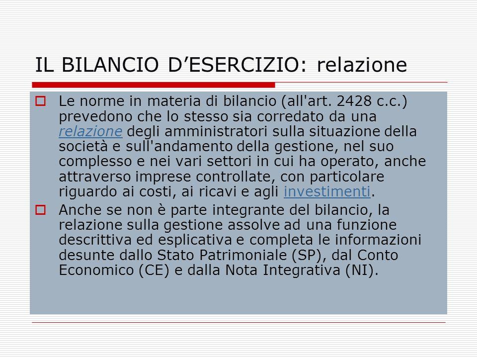 IL BILANCIO DESERCIZIO: relazione Le norme in materia di bilancio (all'art. 2428 c.c.) prevedono che lo stesso sia corredato da una relazione degli am