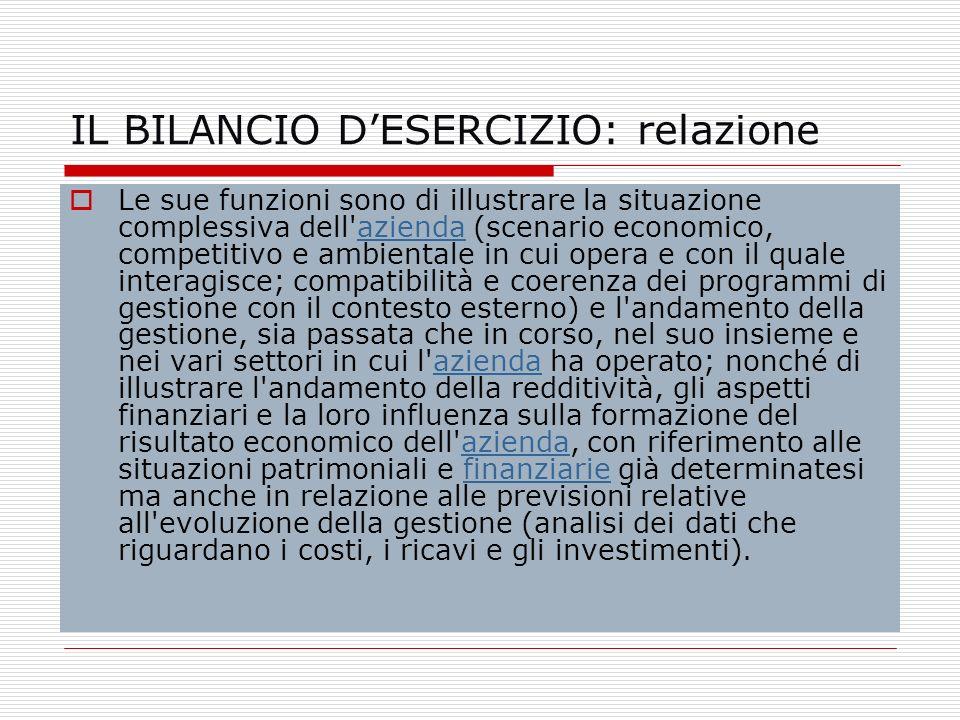 IL BILANCIO DESERCIZIO: relazione Le sue funzioni sono di illustrare la situazione complessiva dell'azienda (scenario economico, competitivo e ambient
