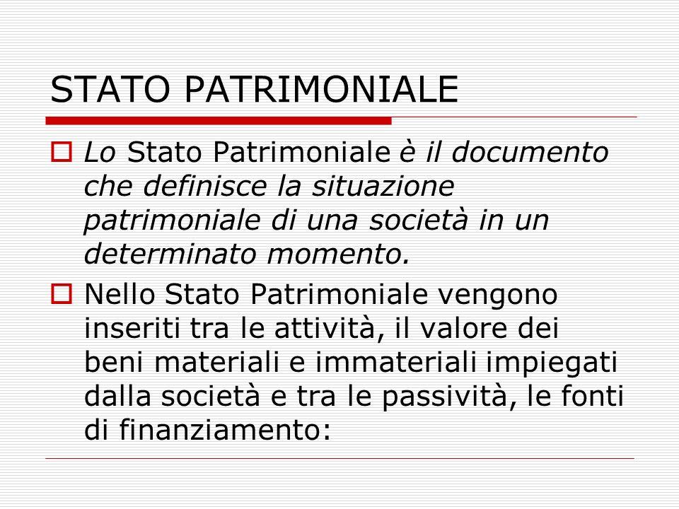 STATO PATRIMONIALE Lo Stato Patrimoniale è il documento che definisce la situazione patrimoniale di una società in un determinato momento. Nello Stato