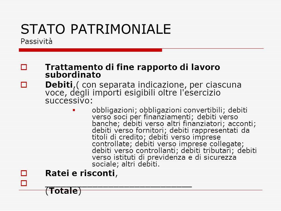 STATO PATRIMONIALE Passività Trattamento di fine rapporto di lavoro subordinato Debiti,( con separata indicazione, per ciascuna voce, degli importi es
