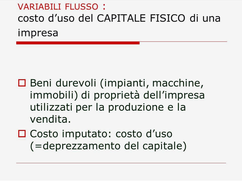 VARIABILI FLUSSO : costo duso del CAPITALE FISICO di una impresa Beni durevoli (impianti, macchine, immobili) di proprietà dellimpresa utilizzati per