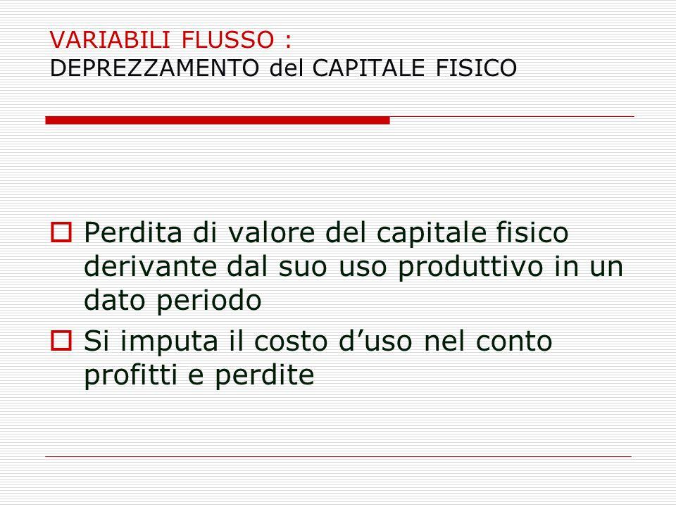 VARIABILI FLUSSO : DEPREZZAMENTO del CAPITALE FISICO Perdita di valore del capitale fisico derivante dal suo uso produttivo in un dato periodo Si impu