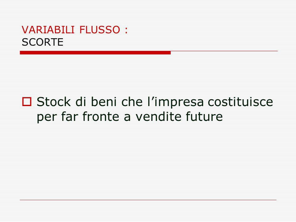 VARIABILI FLUSSO : SCORTE Stock di beni che limpresa costituisce per far fronte a vendite future