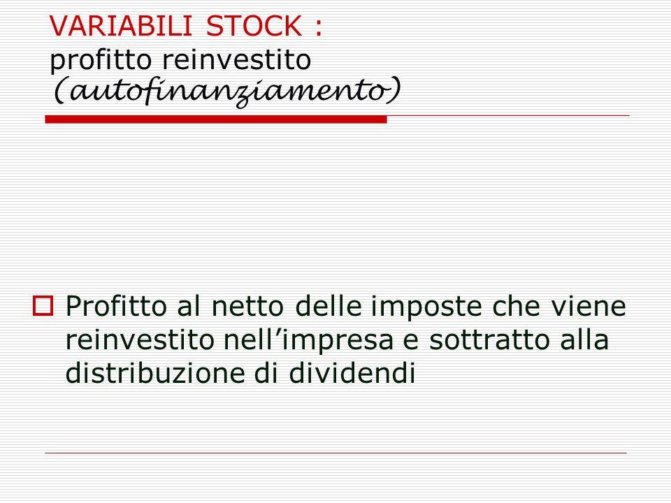 VARIABILI STOCK : profitto reinvestito (autofinanziamento) Profitto al netto delle imposte che viene reinvestito nellimpresa e sottratto alla distribu