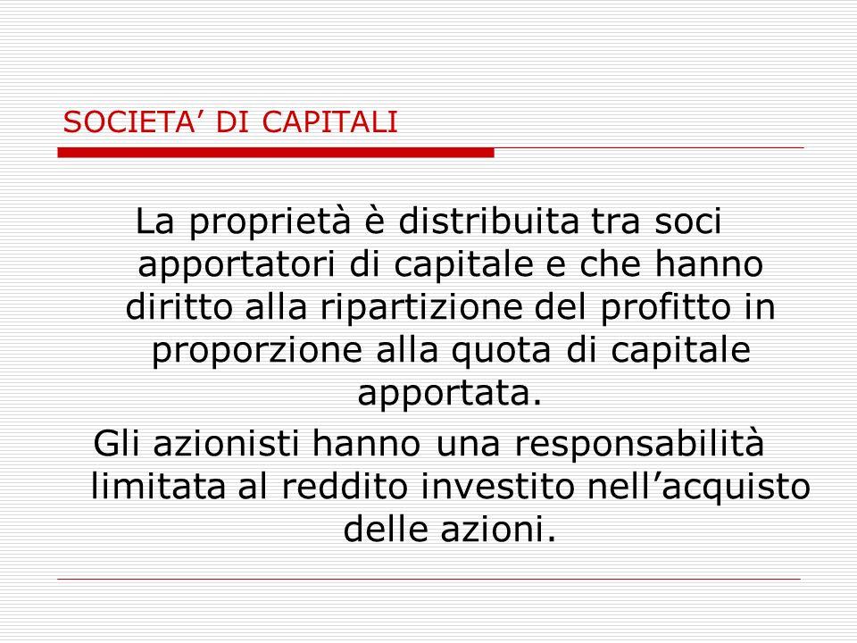 SOCIETA DI CAPITALI La proprietà è distribuita tra soci apportatori di capitale e che hanno diritto alla ripartizione del profitto in proporzione alla