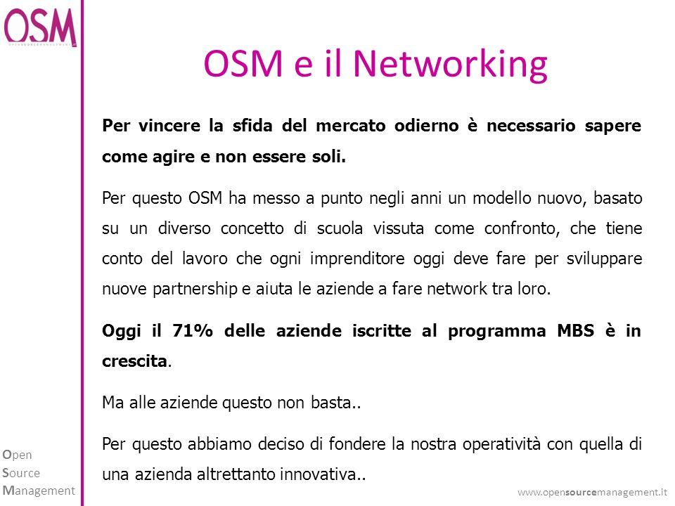 O pen S ource M anagement www.opensourcemanagement.it OSM e il Networking Per vincere la sfida del mercato odierno è necessario sapere come agire e non essere soli.