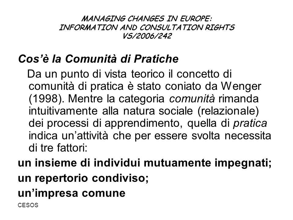 CESOS MANAGING CHANGES IN EUROPE: INFORMATION AND CONSULTATION RIGHTS VS/2006/242 Cosè la Comunità di Pratiche Da un punto di vista teorico il concetto di comunità di pratica è stato coniato da Wenger (1998).
