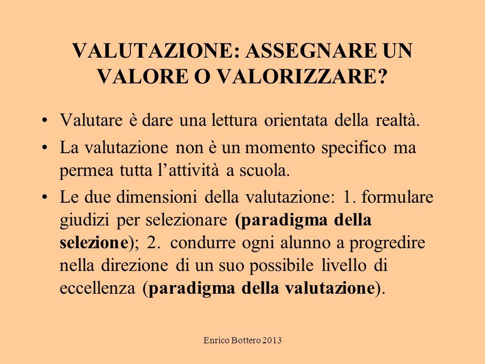 Enrico Bottero 2013 VALUTAZIONE: ASSEGNARE UN VALORE O VALORIZZARE.