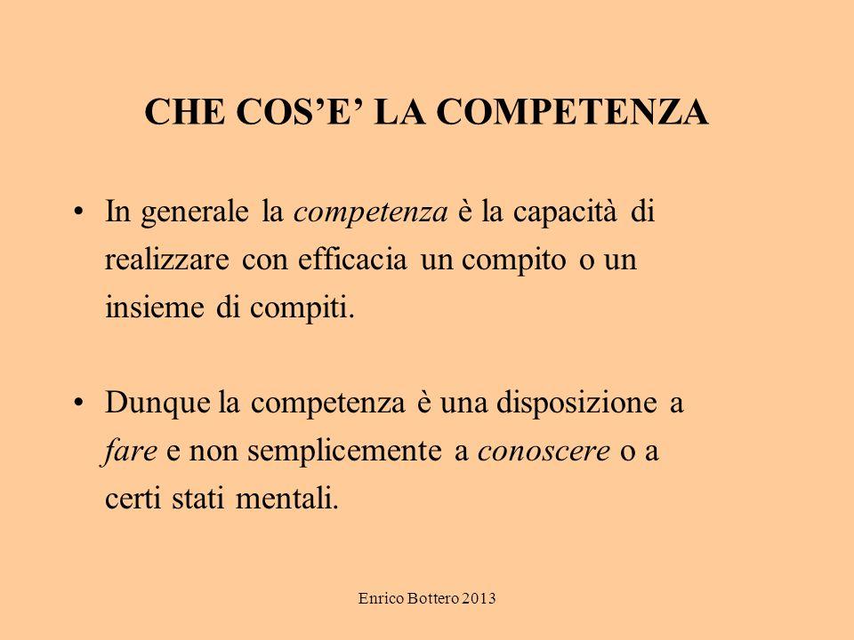Enrico Bottero 2013 CHE COSE LA COMPETENZA In generale la competenza è la capacità di realizzare con efficacia un compito o un insieme di compiti.