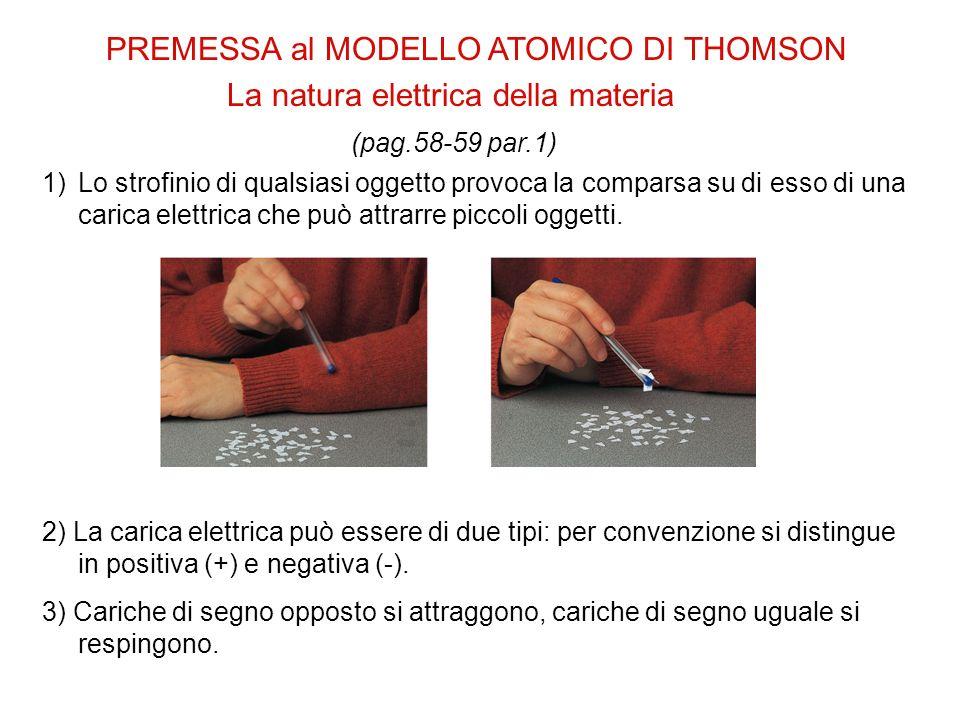 PREMESSA al MODELLO ATOMICO DI THOMSON La natura elettrica della materia (pag.58-59 par.1) 1)Lo strofinio di qualsiasi oggetto provoca la comparsa su