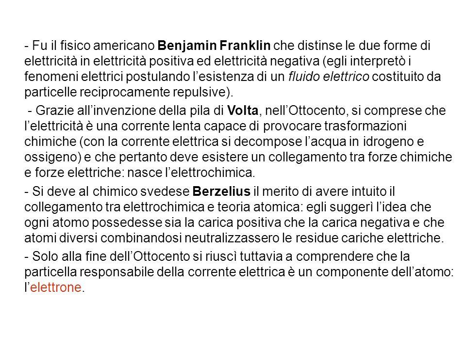 - Fu il fisico americano Benjamin Franklin che distinse le due forme di elettricità in elettricità positiva ed elettricità negativa (egli interpretò i