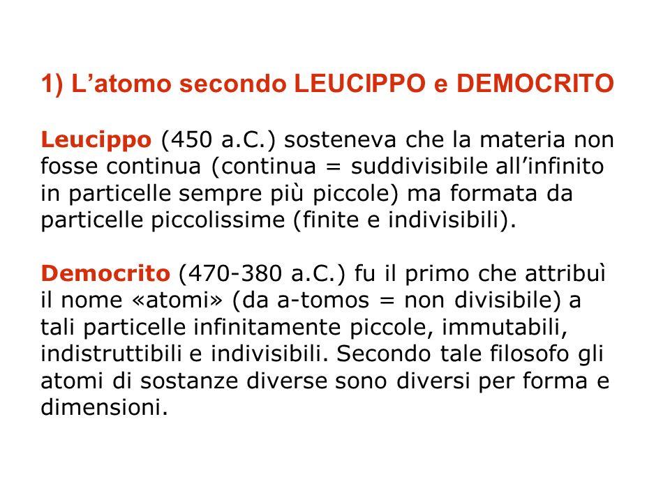 1) Latomo secondo LEUCIPPO e DEMOCRITO Leucippo (450 a.C.) sosteneva che la materia non fosse continua (continua = suddivisibile allinfinito in partic