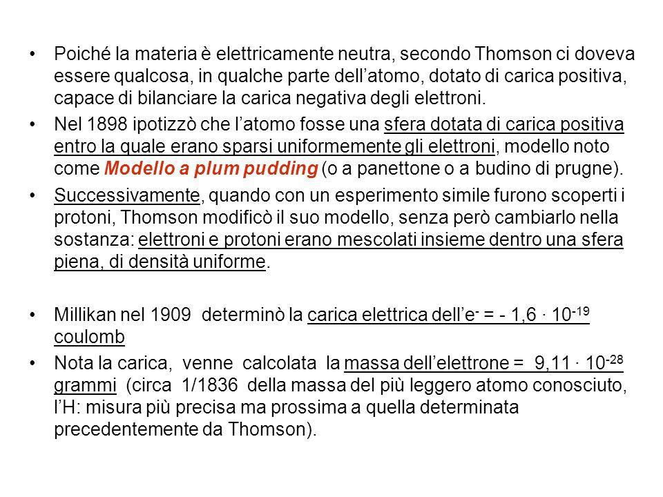 Poiché la materia è elettricamente neutra, secondo Thomson ci doveva essere qualcosa, in qualche parte dellatomo, dotato di carica positiva, capace di