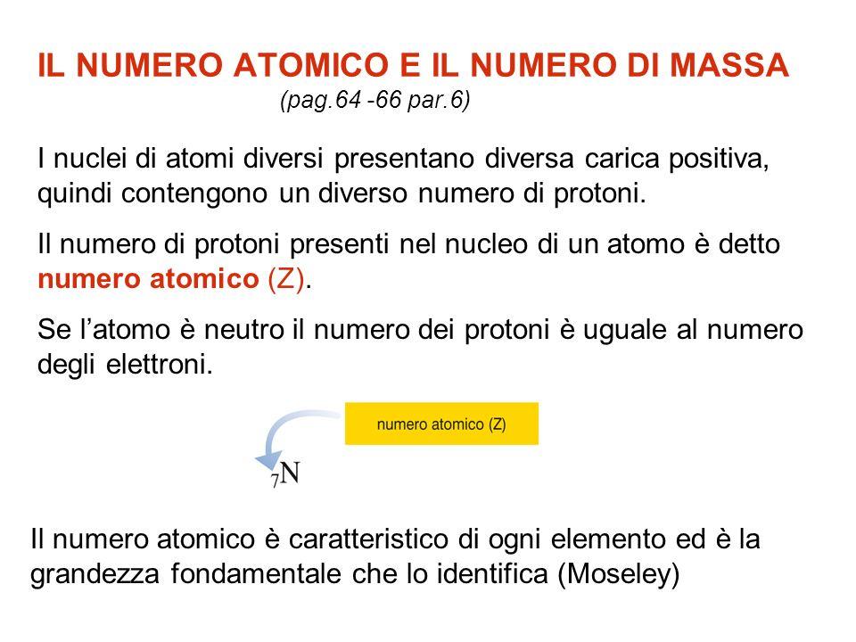 IL NUMERO ATOMICO E IL NUMERO DI MASSA (pag.64 -66 par.6) I nuclei di atomi diversi presentano diversa carica positiva, quindi contengono un diverso n