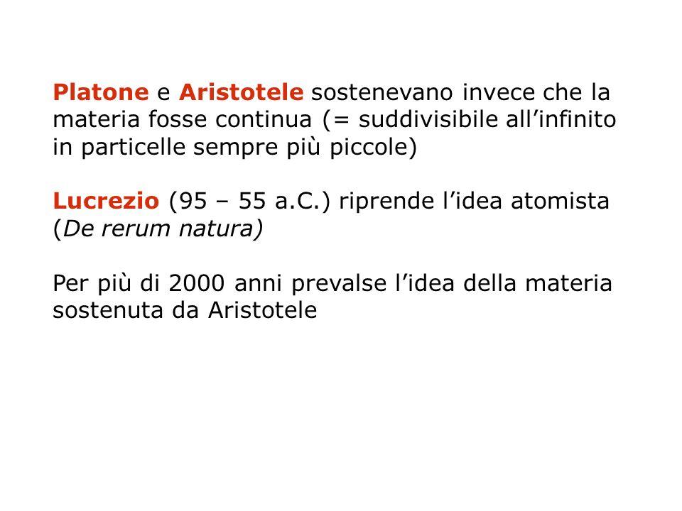 Platone e Aristotele sostenevano invece che la materia fosse continua (= suddivisibile allinfinito in particelle sempre più piccole) Lucrezio (95 – 55