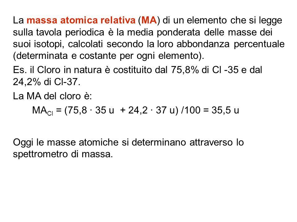 La massa atomica relativa (MA) di un elemento che si legge sulla tavola periodica è la media ponderata delle masse dei suoi isotopi, calcolati secondo