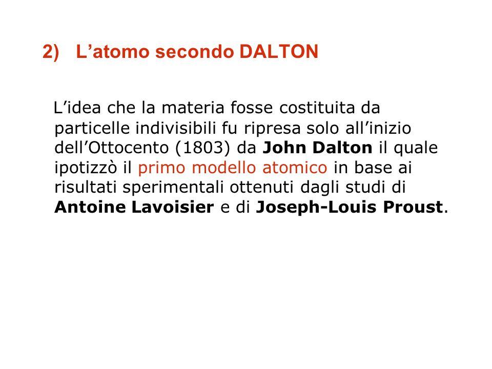 2) Latomo secondo DALTON Lidea che la materia fosse costituita da particelle indivisibili fu ripresa solo allinizio dellOttocento (1803) da John Dalto