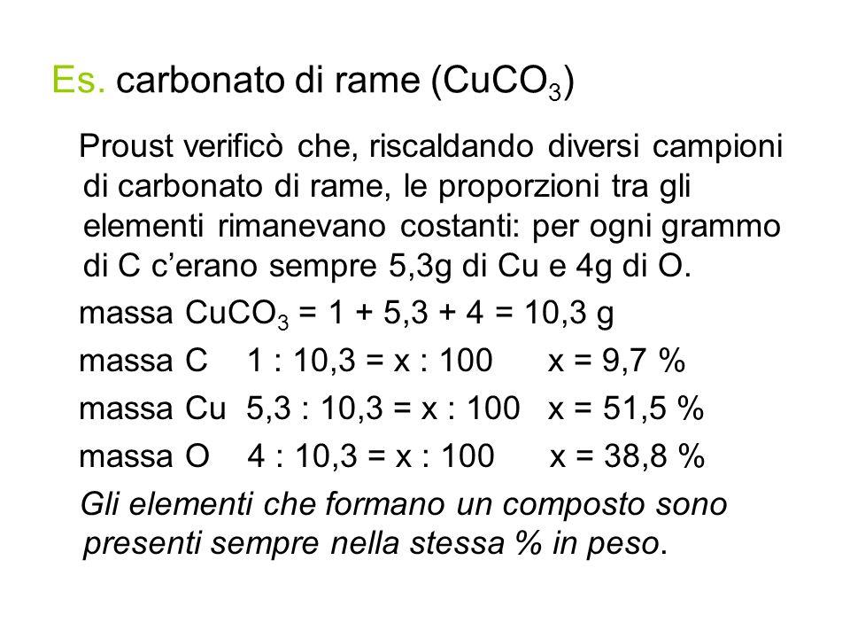 Es. carbonato di rame (CuCO 3 ) Proust verificò che, riscaldando diversi campioni di carbonato di rame, le proporzioni tra gli elementi rimanevano cos