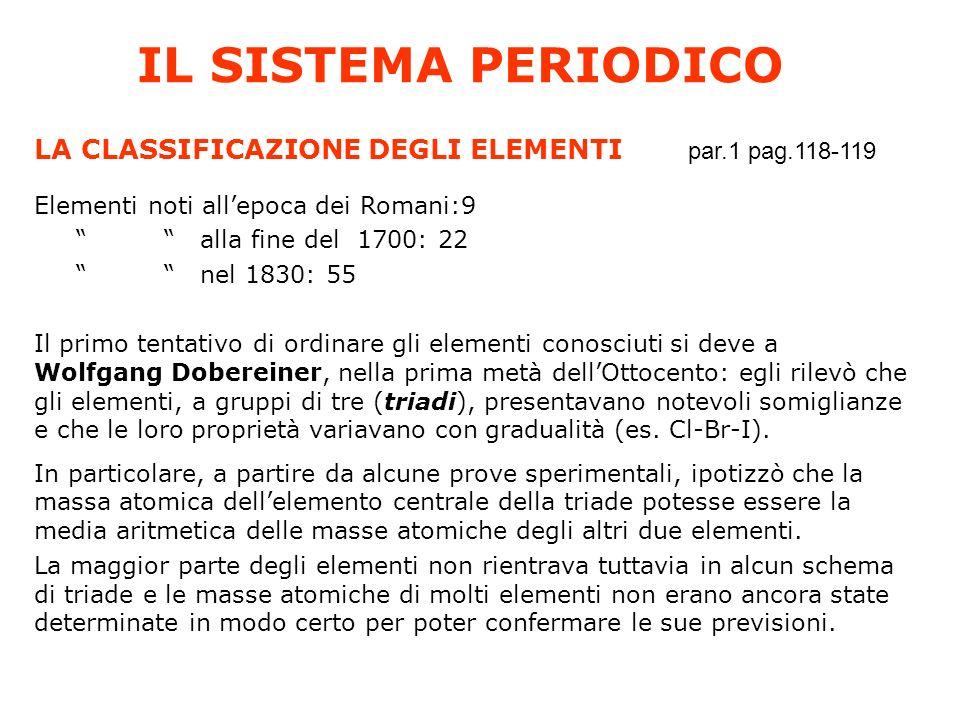 IL SISTEMA PERIODICO LA CLASSIFICAZIONE DEGLI ELEMENTI par.1 pag.118-119 Elementi noti allepoca dei Romani:9 alla fine del 1700: 22 nel 1830: 55 Il pr