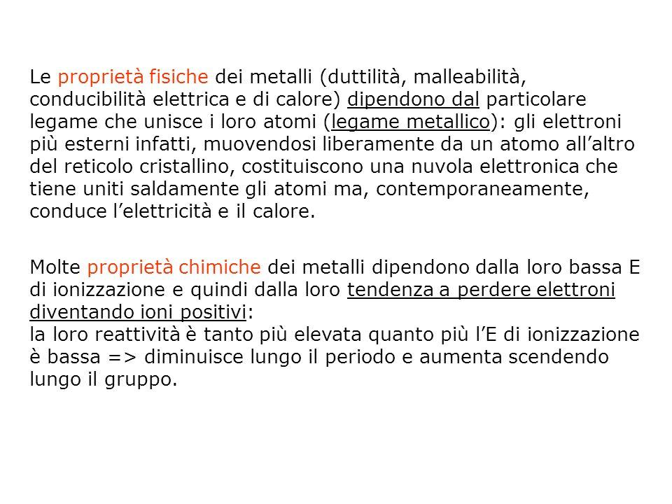 Le proprietà fisiche dei metalli (duttilità, malleabilità, conducibilità elettrica e di calore) dipendono dal particolare legame che unisce i loro ato