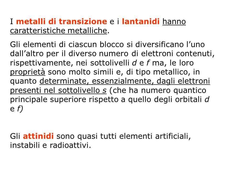 I metalli di transizione e i lantanidi hanno caratteristiche metalliche. Gli elementi di ciascun blocco si diversificano luno dallaltro per il diverso