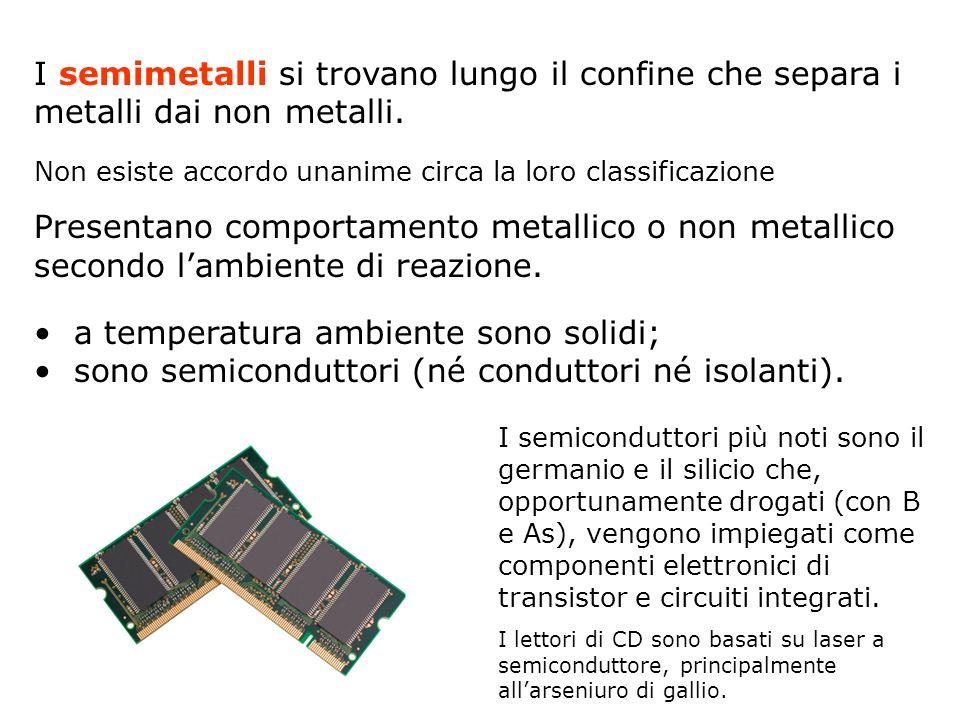 I semimetalli si trovano lungo il confine che separa i metalli dai non metalli. Non esiste accordo unanime circa la loro classificazione Presentano co