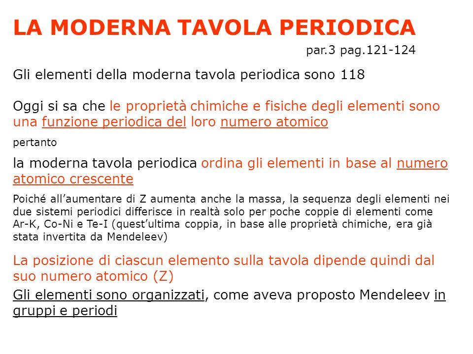 LA MODERNA TAVOLA PERIODICA par.3 pag.121-124 Gli elementi della moderna tavola periodica sono 118 Oggi si sa che le proprietà chimiche e fisiche degl
