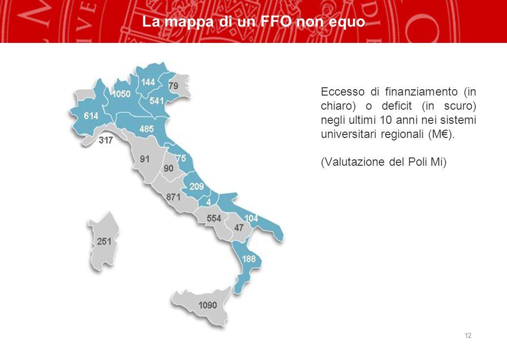 12 La mappa di un FFO non equo Eccesso di finanziamento (in chiaro) o deficit (in scuro) negli ultimi 10 anni nei sistemi universitari regionali (M).