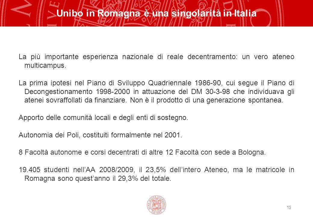 15 Unibo in Romagna è una singolarità in Italia La più importante esperienza nazionale di reale decentramento: un vero ateneo multicampus.