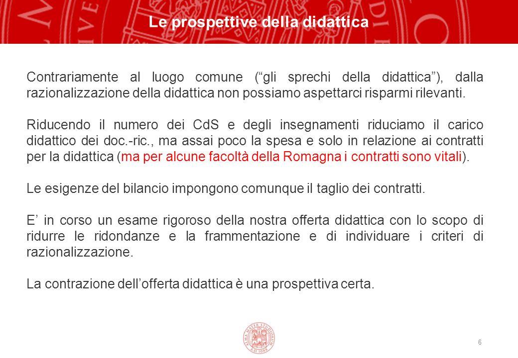 6 Le prospettive della didattica Contrariamente al luogo comune (gli sprechi della didattica), dalla razionalizzazione della didattica non possiamo aspettarci risparmi rilevanti.