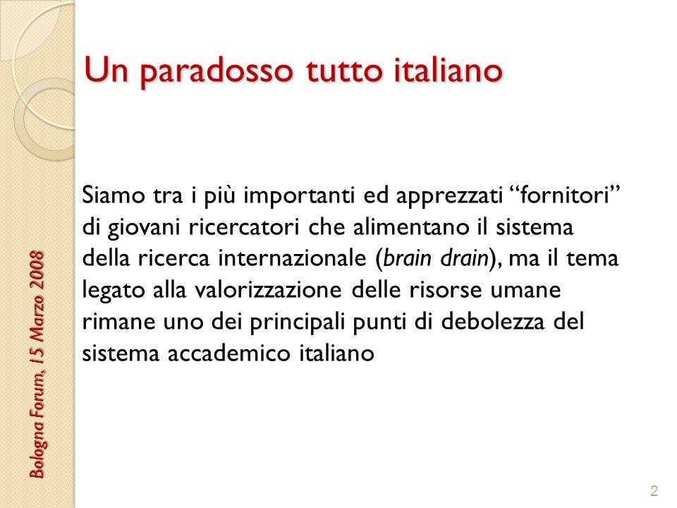 3 Un metodo di reclutamento inefficace Nelle università italiane si ottiene una posizione permanente (tenure) seguendo un percorso troppo incerto (manca un sistema di tenure track), in età troppo avanzata e con uno stipendio iniziale che non è competitivo rispetto ai nostri principali concorrenti europei.