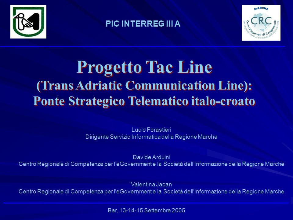 PIC INTERREG III A Bar, 13-14-15 Settembre 2005 Lucio Forastieri Dirigente Servizio Informatica della Regione Marche Davide Arduini Centro Regionale d