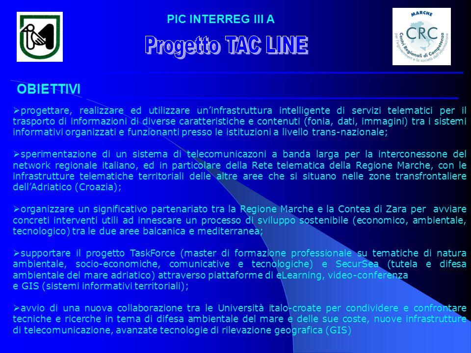 PIC INTERREG III A OBIETTIVI progettare, realizzare ed utilizzare uninfrastruttura intelligente di servizi telematici per il trasporto di informazioni
