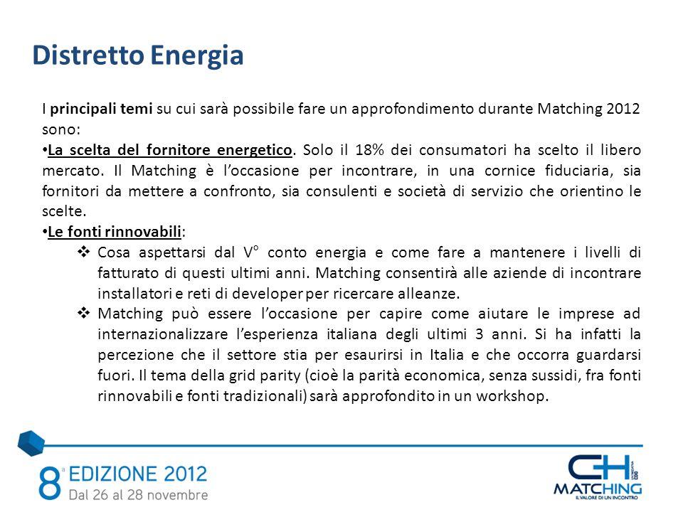 Distretto Energia I principali temi su cui sarà possibile fare un approfondimento durante Matching 2012 sono: La scelta del fornitore energetico.