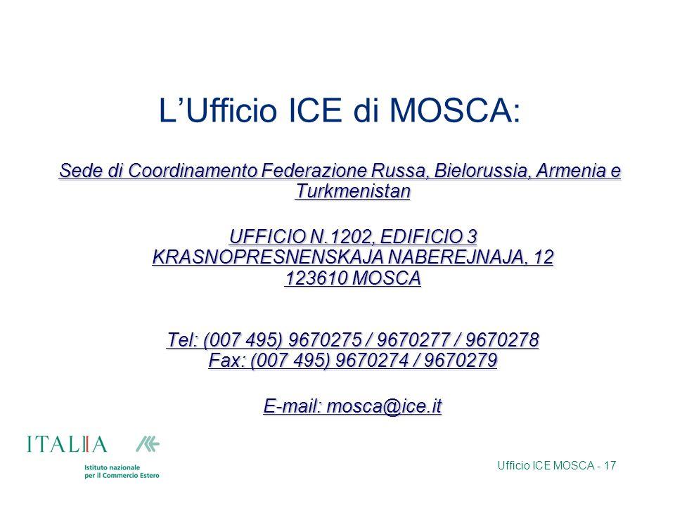 Ufficio ICE MOSCA - 17 LUfficio ICE di MOSCA: Sede di Coordinamento Federazione Russa, Bielorussia, Armenia e Turkmenistan UFFICIO N.1202, EDIFICIO 3 KRASNOPRESNENSKAJA NABEREJNAJA, 12 123610 MOSCA Tel: (007 495) 9670275 / 9670277 / 9670278 Fax: (007 495) 9670274 / 9670279 UFFICIO N.1202, EDIFICIO 3 KRASNOPRESNENSKAJA NABEREJNAJA, 12 123610 MOSCA Tel: (007 495) 9670275 / 9670277 / 9670278 Fax: (007 495) 9670274 / 9670279 E-mail: mosca@ice.it