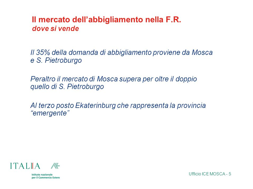 Ufficio ICE MOSCA - 5 Il mercato dellabbigliamento nella F.R.