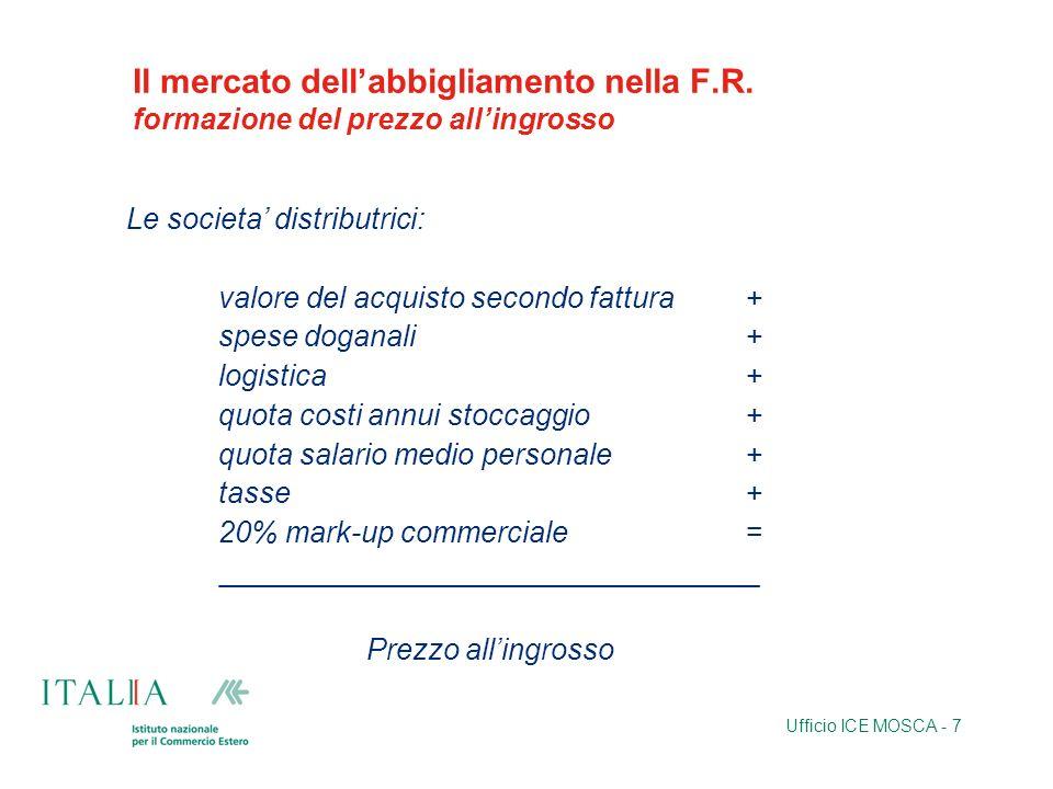 Ufficio ICE MOSCA - 7 Il mercato dellabbigliamento nella F.R. formazione del prezzo allingrosso Le societa distributrici: valore del acquisto secondo