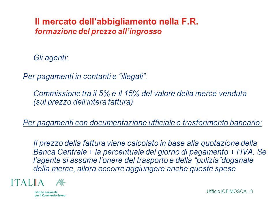 Ufficio ICE MOSCA - 8 Il mercato dellabbigliamento nella F.R. formazione del prezzo allingrosso Gli agenti: Per pagamenti in contanti e illegali: Comm