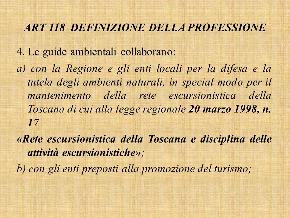 ART 118 DEFINIZIONE DELLA PROFESSIONE 4.