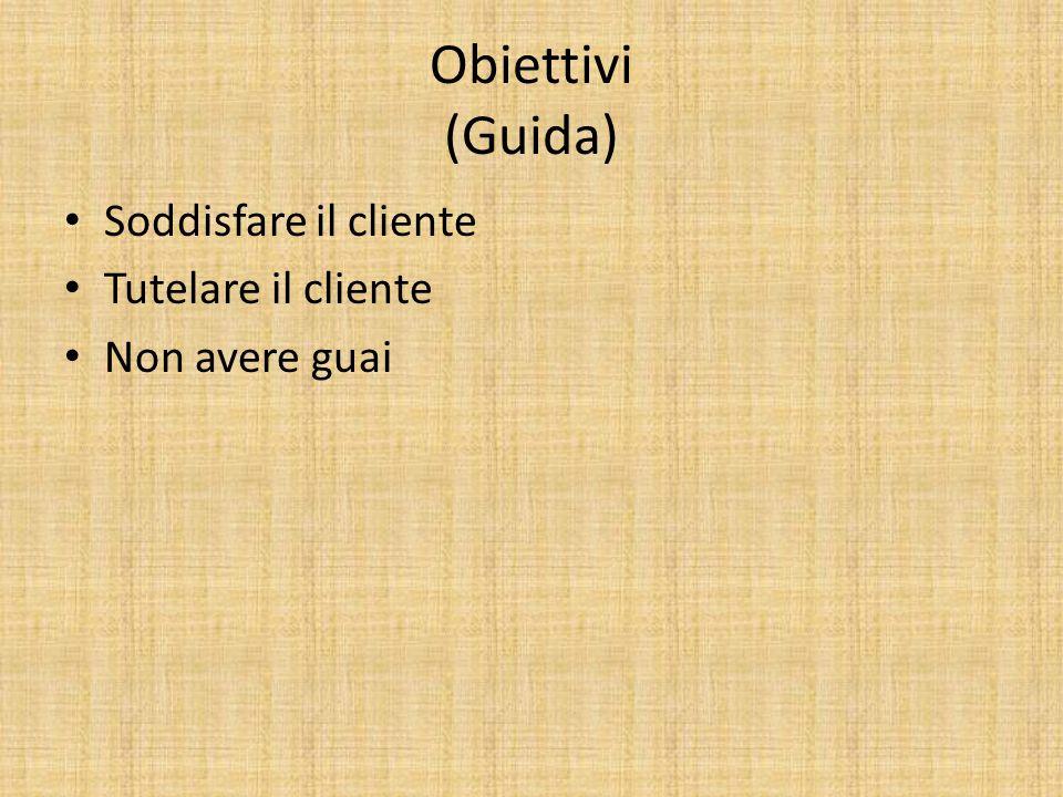 Obiettivi (Guida) Soddisfare il cliente Tutelare il cliente Non avere guai