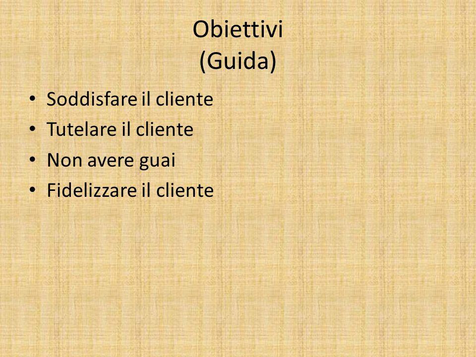 Obiettivi (Guida) Soddisfare il cliente Tutelare il cliente Non avere guai Fidelizzare il cliente