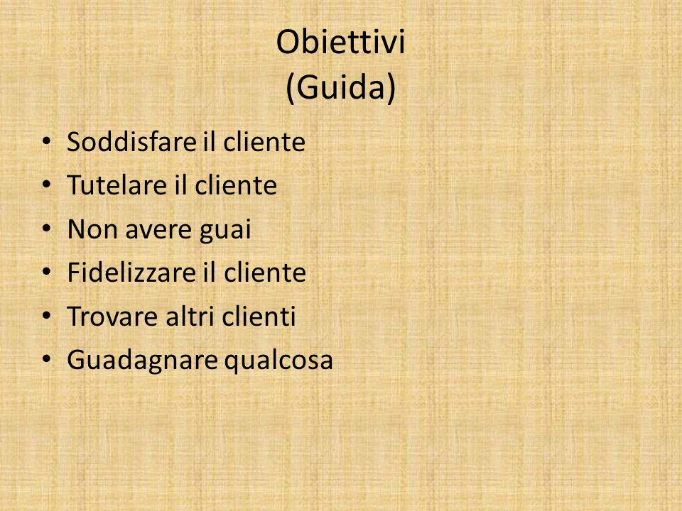 Obiettivi (Guida) Soddisfare il cliente Tutelare il cliente Non avere guai Fidelizzare il cliente Trovare altri clienti Guadagnare qualcosa