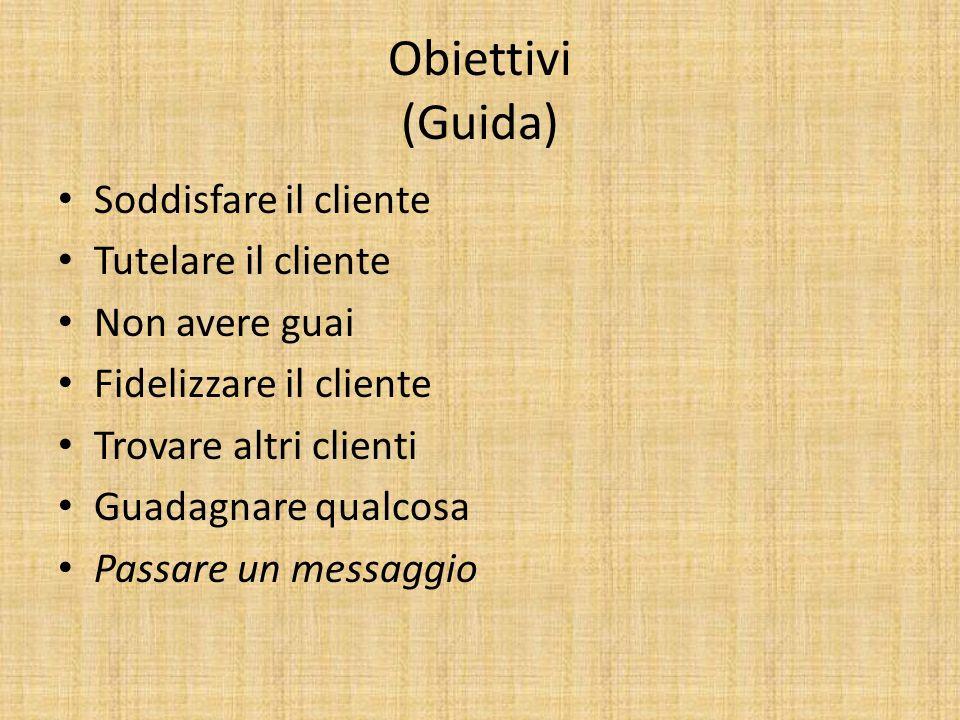 Obiettivi (Guida) Soddisfare il cliente Tutelare il cliente Non avere guai Fidelizzare il cliente Trovare altri clienti Guadagnare qualcosa Passare un messaggio