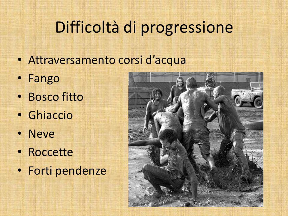 Difficoltà di progressione Attraversamento corsi dacqua Fango Bosco fitto Ghiaccio Neve Roccette Forti pendenze