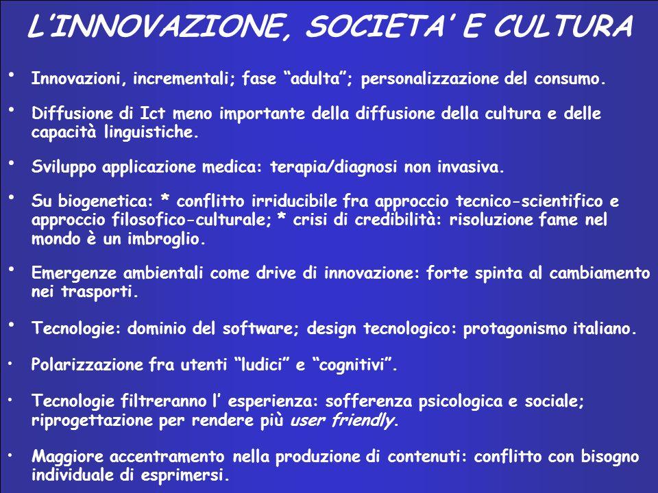 INNOVAZIONE E SISTEMA–PAESE 2002 – 2004 LINNOVAZIONE, SOCIETA E CULTURA Innovazioni, incrementali; fase adulta; personalizzazione del consumo.