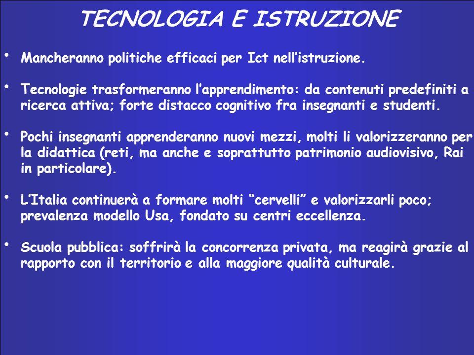 INNOVAZIONE E SISTEMA–PAESE 2002 – 2004 TECNOLOGIA E ISTRUZIONE Mancheranno politiche efficaci per Ict nellistruzione.